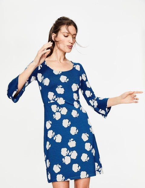 Miriam Jersey Tunic - Lupine Blue Woodblock Floral