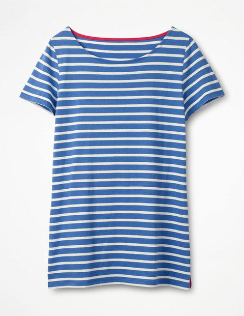 Short Sleeve Breton - Soft Blue/Ivory