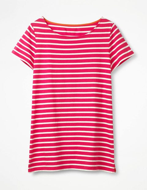 Short Sleeve Breton Carnival Pink/Ivory Women Boden