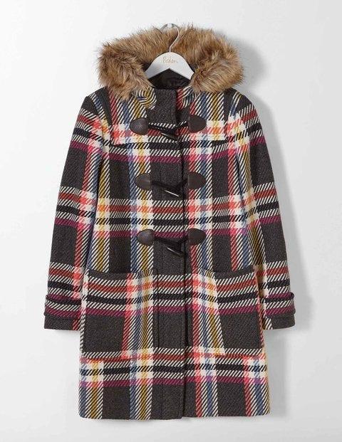 Wool Duffle Coat Multi Check Women Boden