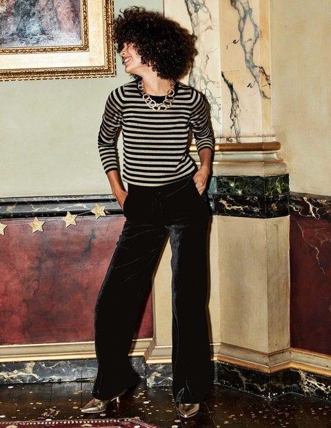 Velvet Wide Leg Trousers - Black