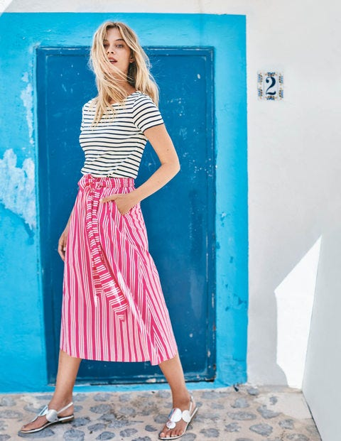 Kiera Skirt - Party Pink and Ecru Stripe