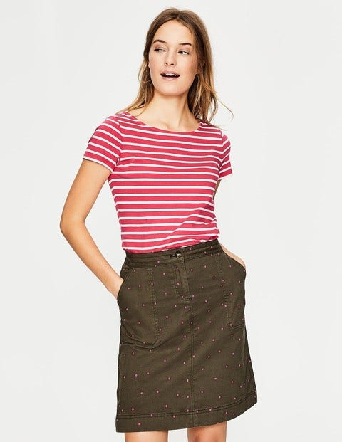 d4439227d9d Chino Skirt - Khaki with Fluro Pink Spot