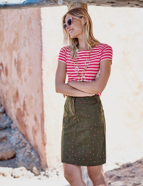 Chino Skirt - Khaki with Fluro Pink Spot