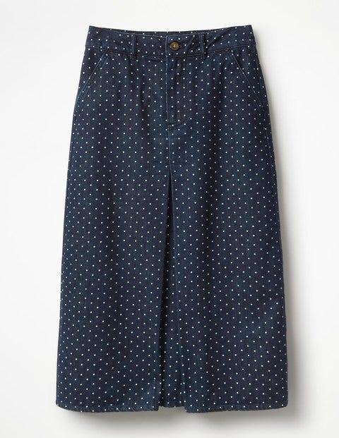 Mira Denim Skirt - Indigo Denim With Spot