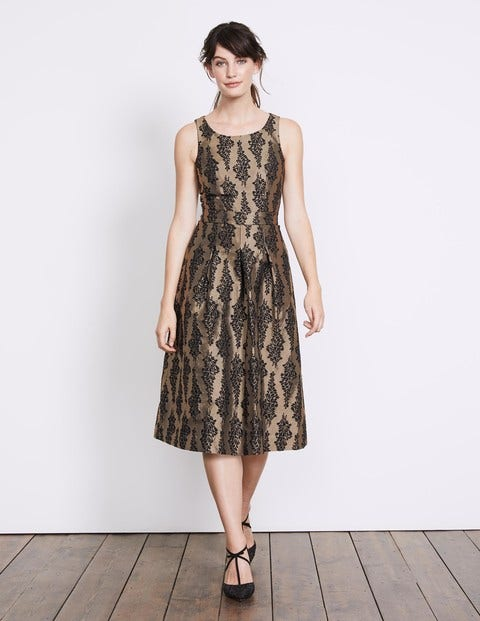 Jacquard Party Dress Black and Pewter Jacquard Women Boden