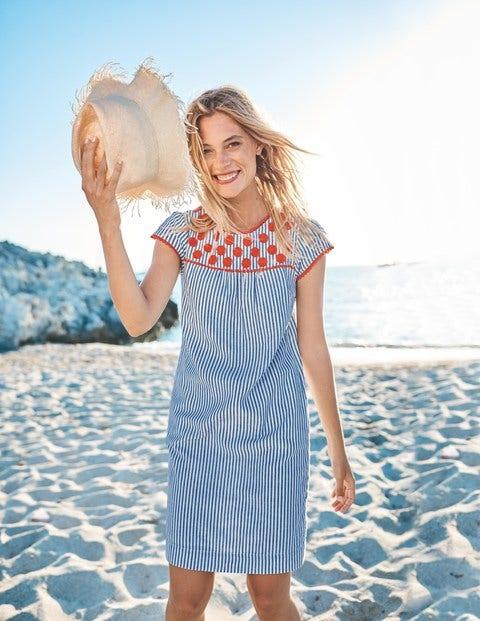 c3a1f6c6686 Rosalind Dress - Lupine Blue Ecru Stripe
