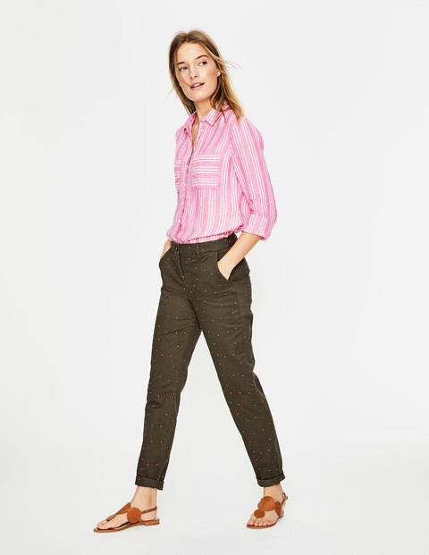Rachel Chino Trousers - Khaki with Fluro Pink Spot