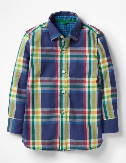 Double Cloth Shirt - Starboard Blue Rainbow Check