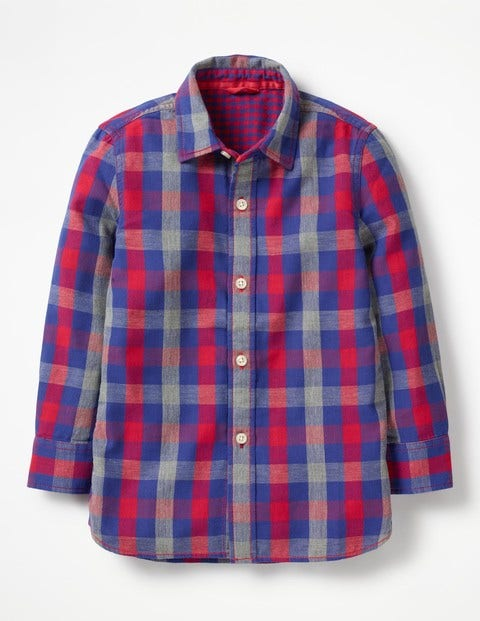 Double Cloth Shirt - Salsa Red/Grey Marl Gingham