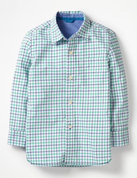 Vorgewaschenes Hemd - Astrogrün/Blau, Tattersall-Karo