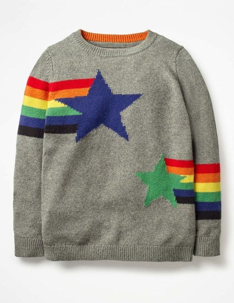 Graphic Crew Jumper - Charcoal Marl Rainbow Star