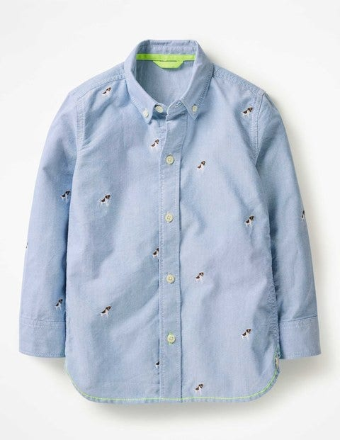 Embroidered Shirt - Oxford Blue Embroidered Sprout