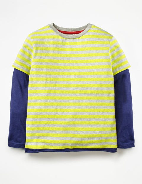 Layered T-Shirt - Lime Cordial Green/Grey Jaspe