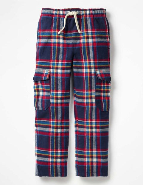 Brushed Tartan Cargo Pants - School Navy/Salsa Red Check