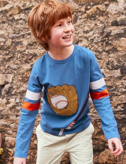 Appliqué Sports T-Shirt - Daphne Blue Baseball