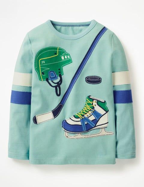 Appliqué Sports T-Shirt - Dolphin Blue Hockey