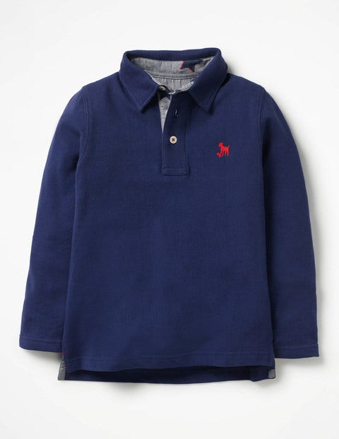 Long-Sleeved Pique Polo Shirt - Starboard Blue