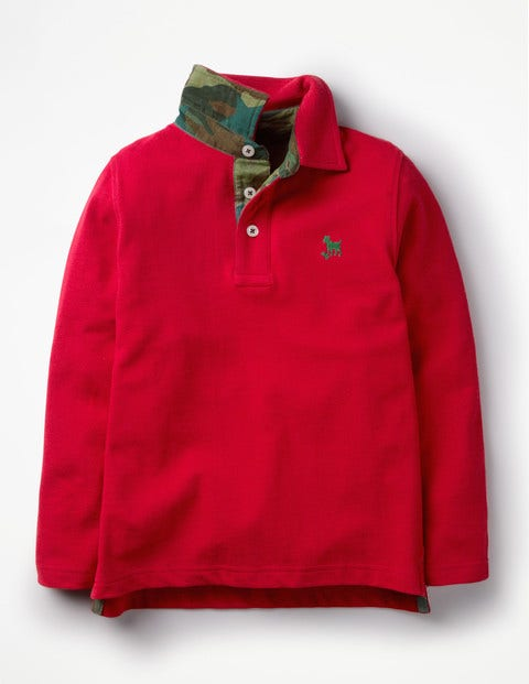Long-Sleeved Pique Polo Shirt - Salsa Red