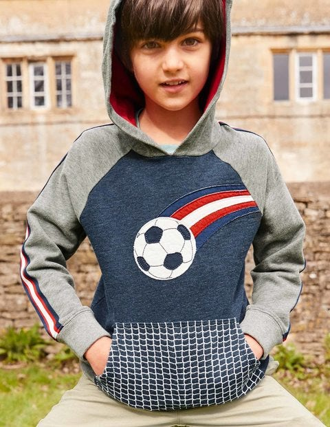 Appliqué Football Hoodie - Navy Marl Football