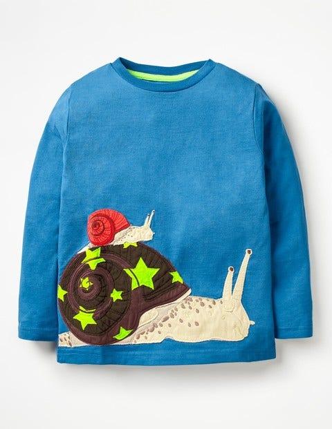 Go Wild Appliqué T-Shirt - Daphne Blue Snail
