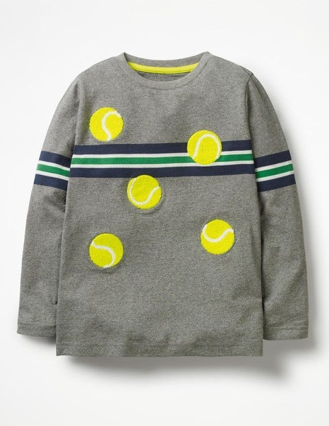 Stripy Sports T-Shirt - Grey Marl Tennis