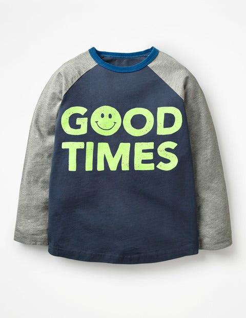 Slogan Raglan T-Shirt - Navy Blue Good Times
