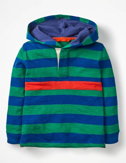 Hooded Rugby Shirt - Watercress Green/Orion Blue