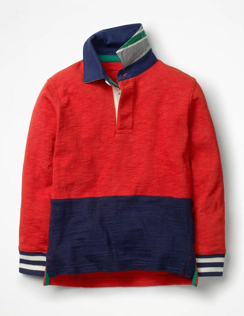 Rugby Shirt - Salsa Red/School Navy