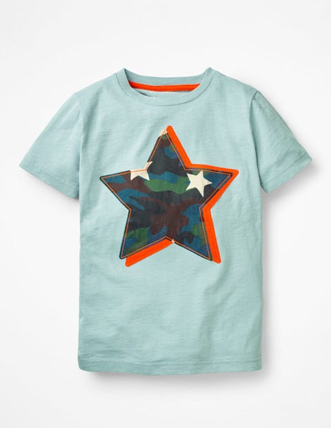 Printed Appliqué T-Shirt - Dolphin Blue Star
