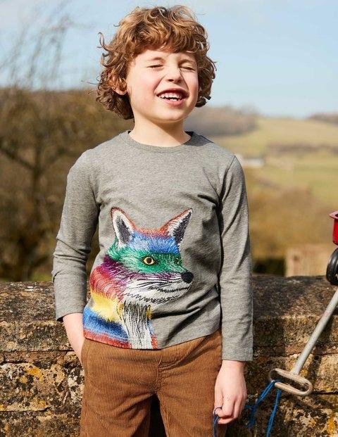 Wild Superstitch T-Shirt - Grey Marl Rainbow Fox