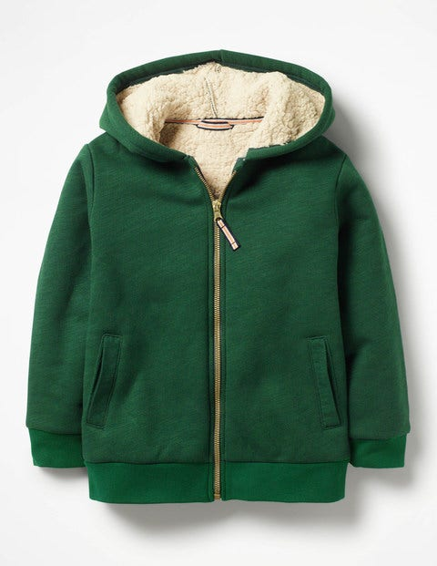 Borg-Lined Zip-Up Hoodie - Scots Pine Green