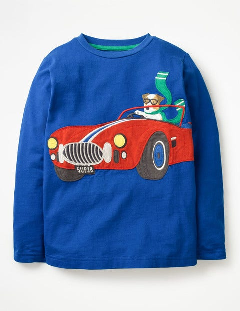 Vehicle Appliqué T-Shirt - Orion Blue Race Car Sprout