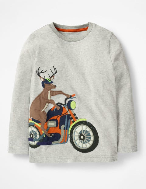 Vehicle Appliqué T-Shirt - Grey Marl Motorbike Stag