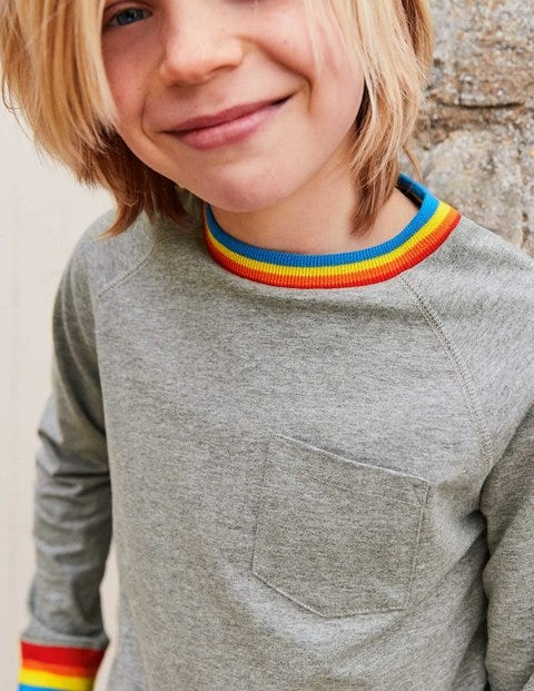 Stripy Rib Raglan T-Shirt - Grey Marl Jaspé