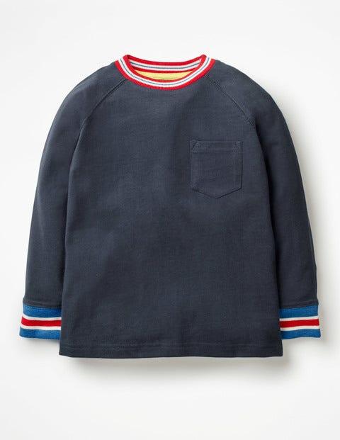 Stripy Rib Raglan T-Shirt - School Navy