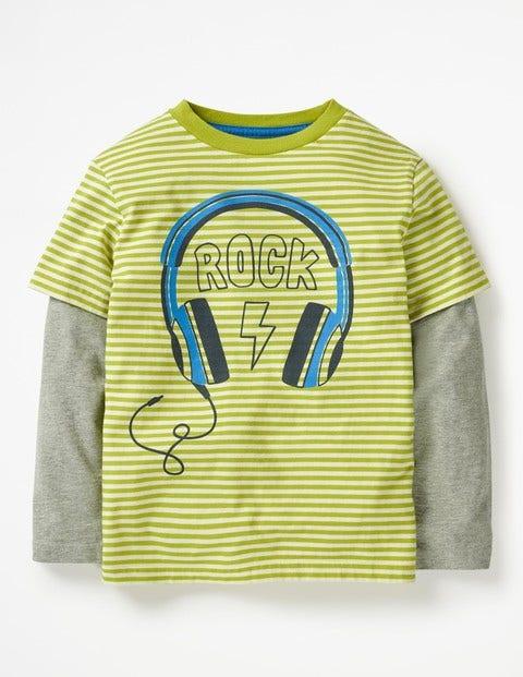 Stripy Music T-Shirt - Lime Green/Ecru Headphones