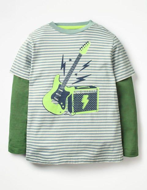 Stripy Music T-Shirt - Wren Blue/Ecru Guitar