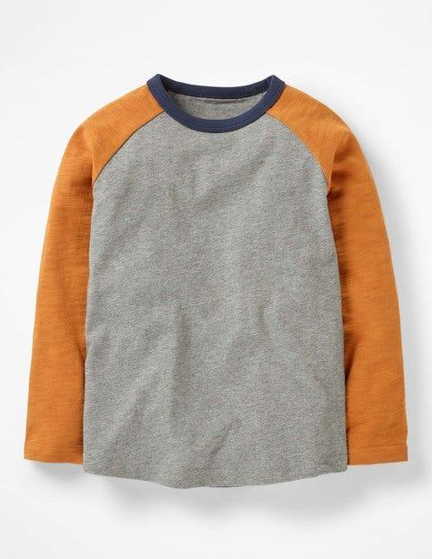 Raglan T-Shirt - Grey Marl/Sticky Toffee Brown
