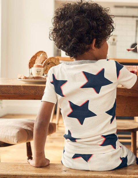 Cosy Short John Pyjamas - Ecru Shadow Star