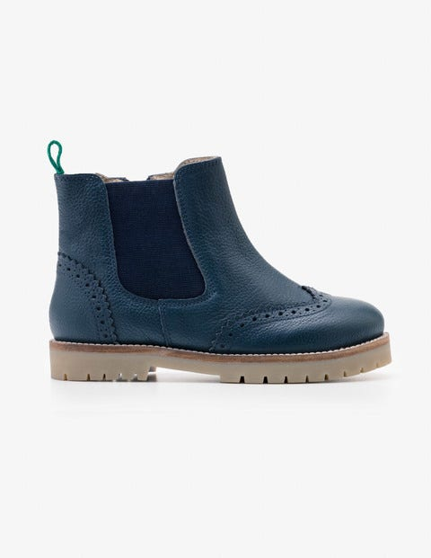 Leather Chelsea Boots - Navy