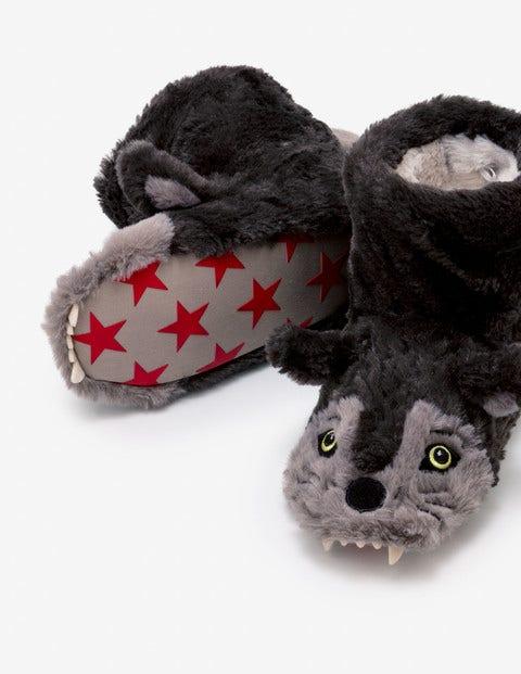 Wolf Slipper Boots - Mid Grey