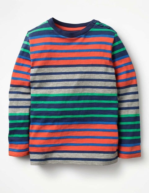 Hotchpotch Stripe T-shirt Melon Crush Red/Astro Green Boys Boden