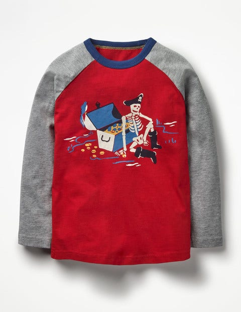 Glowing Pirate T-shirt Engine Red Skeleton Boys Boden