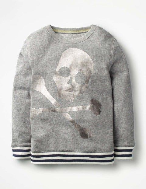 Fröhliches Sweatshirt - Grau Meliert, Totenkopf