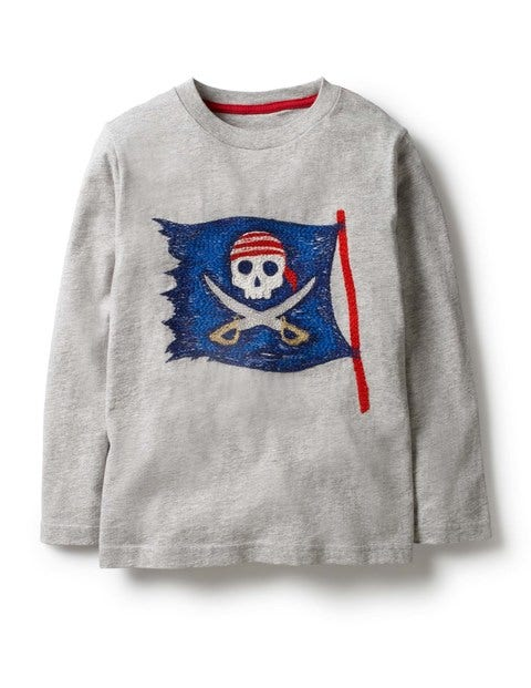 Pirate Superstitch T-Shirt - Grey Marl Pirate Flag