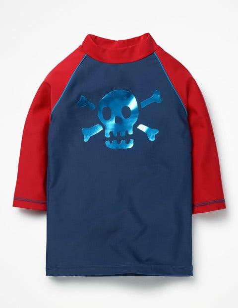 Logo Rash Guard Deep Sea Blue Skull Boys Boden