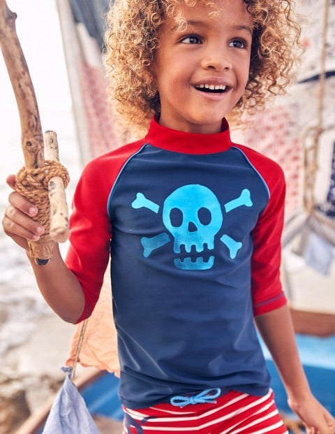 Logo Rash Vest - Deep Sea Blue Skull