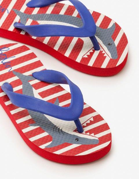 Printed Flip-Flops - Salsa Red Sharks