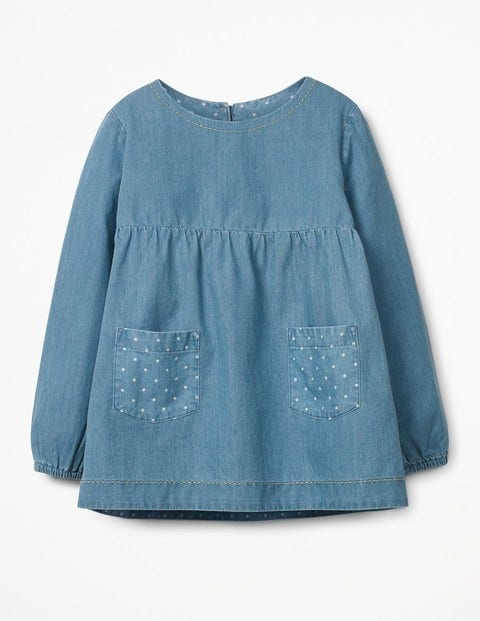 Floaty Chambray Top Chambray Girls Boden